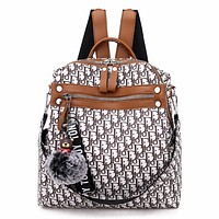 Dior Tide brand new women's full-print versatile shoulder bag backpack Brown