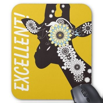 Funky Cool Paisley Giraffe Whimsical Yellow Mouse Pad