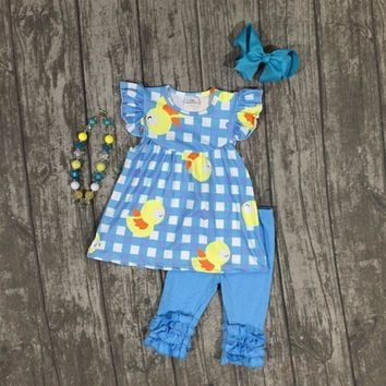4 Pcs Girls Baby Chicks Blue Plaid Outfit Set with Matching Accessories - 12M - 7