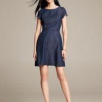 Chambray Fit-and-Flare Dress