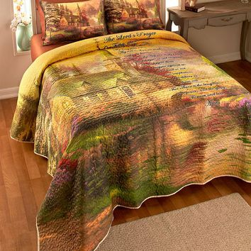The Lord's Prayer Quilt Set Full Queen King Vermicelli Stitching Inspirational Spiritual Bedding