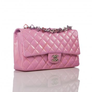 Chanel Pink Lambskin Spring Heart Charm Classic Flap Bag, Limited Edition