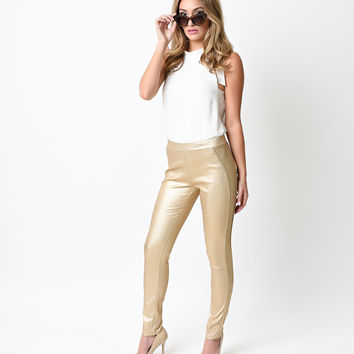 1960s Style Metallic Gold High Waist Stretch Cigarette Pants
