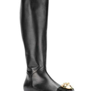 ESBONJF Gucci Pearl And Gem Embellished Calf Length Boots - Farfetch