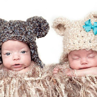 Baby Bear Hats Twins SET 2 Preemie Newborn 0 3m Boy Girl Popular Photo Prop Crochet Cream Brown Gender Neutral Color ChoiceCute