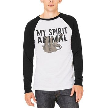 LMFCY8 Sloth My Spirit Animal Mens Long Sleeve Raglan T Shirt