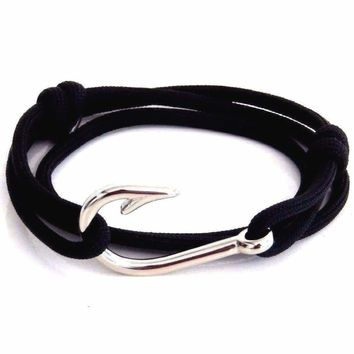 Black Silver Fish Hook Bracelet Nautical Paracord Rope Mens Womens Adjustable