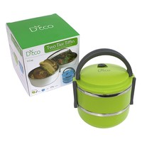 Stacking Lunch Box - Round Two Tier Tiffin with Vacuum Seal Lid and Stainless Steel Interior (Lime Green)