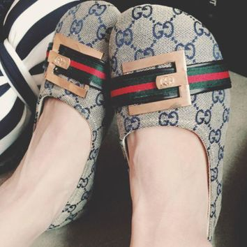 GUCCI metal letters big head doll shoes with flat shoes big shoes Peas shoes boat shoes women's shoes Blue