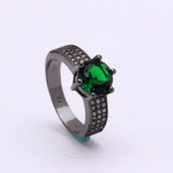 BLACK Rings in green blue white 6 7 8 9 women finger rings paved cz diamond jewelry for lady Engagement Ring plateing black