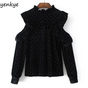 Autumn Women Dot Printed Black Velvet Blouse Long Sleeve Frill Stand Collar Casual Ruffle Shoulder Off Blouses Tops