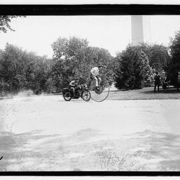 c1923 Velocipede and Motorcycle in Washington D.C.  -Antique-Old-Vintage B&W Reproduction Photograph: Gicclee Print. Frame it!