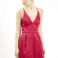 Plunge Neck Satin Dress - Topshop