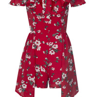 Red Plunge Floral Ruffle Off Shoulder Asymmetric Hem Romper Playsuit