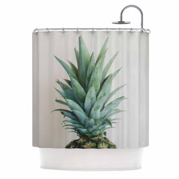 "Chelsea Victoria "" The Pineapple"" Green Gold Shower Curtain"