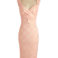 ModCloth Vintage Inspired Long Sleeveless Shift Lady Love Song Dress in Pink Lace