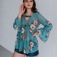 Gemma Floral Chiffon Scalloped Top - Teal
