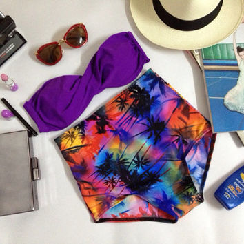 New vintage limited edition high waist hot 2 in 1 violet top and summer beach bottoms women set handmade 100%