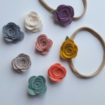 Petite Wool Felt Roses on Nylon Stretch Headband - YOU CHOOSE - Fall - One Size Fits All - by Gracie and Me