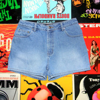 Vintage 90s High Waisted Light Stone Washed Denim Jean Shorts, Cuffed, Hemmed High Waist Shorts Size 6 8 M Medium