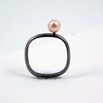 Oxidized Silver Ring with Delicate Antique Rose Pearl by MarKhed