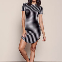 Striped Curved Sides Shirt Dress - LoveCulture