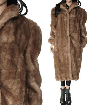 Long Faux Fur Coat Brown Oversized 80s 90s Boho Glam Winter Outerwear Clothing Womens Size Medium Large