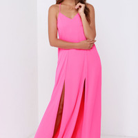 Plume Oneself Hot Pink Maxi Dress