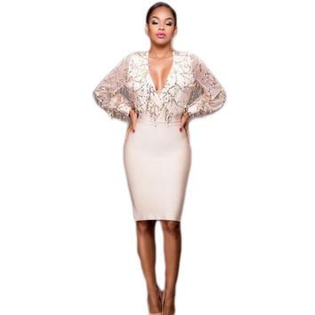 Sexy V neck long sleeve flowing sequins bodycon club dress classic style elegant autumn party wear dress package hips for women
