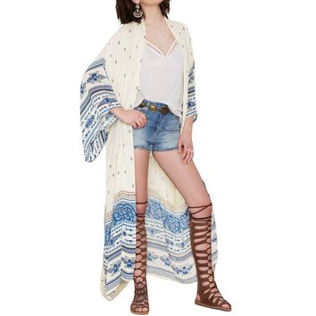 Women Chiffon Kimono Cardigan Bikini Cover Up Printed Boho Long Beach Cover Up Loose Casual Beach Robe Blue XL Womens Beachwear