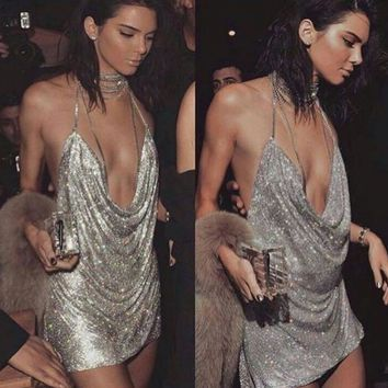 Deep-V Halter Sequin Dress