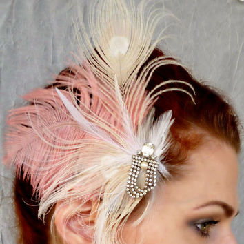 Marie Antoinette Headpiece - Rhinestone Pink Ostrich Ivory Peacock Feather Fascinator Hair Clip