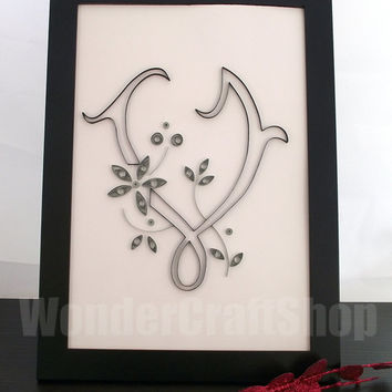 Beautiful personalised Quilled V Letter with either silver or golden flowers in a black Ikea Nyttja Photo Frame