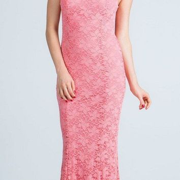 Coral Cap Sleeves Fit and Flare Long Formal Dress Lace Cut Out Back