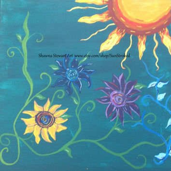 PRINT, Flowers In The Sun, abstract acrylic energy painting, Shawna Stewart art, Free shipping, hippy, happy art, tree of life, sun