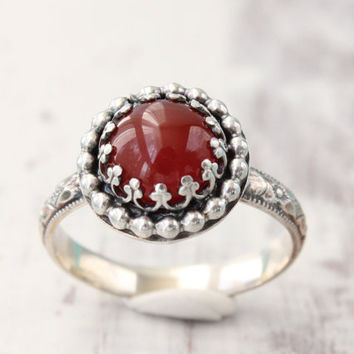 Red carnelian ring, sterling silver, gallery crown bead setting, 8 mm gemstone ring, diamond pattern band, red ring, stackable