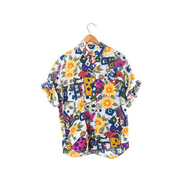 Abstract Floral Blouse Slouchy Rayon Short Sleeve Button Up Tshirt Colorful Pocket Tee 90s Beach Shirt Sunflowers Womens Medium