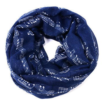 Navy bule Musical Notes winter Infinity Scarf Women music shawls and scarves foulard bufandas mujer 2015 echarpes foulards femme