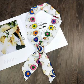 Fashion Women silk handbag scarf/ New style scarf with leaf and dot print/Women's bandanas headbands Hair ribbons/For many uses