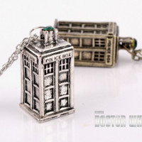 Dr. Who Vintage TARDIS Necklace In Silver or Gold