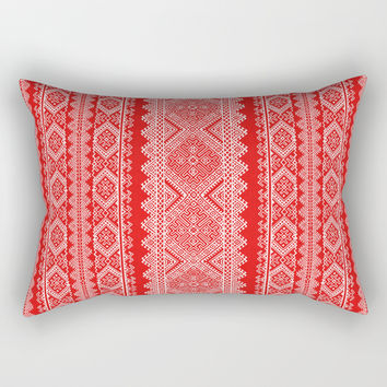 Ukrainian embroidery red and white Rectangular Pillow by exobiology