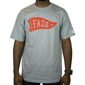 FAZE Flag Logo Tee in athletic heather and red