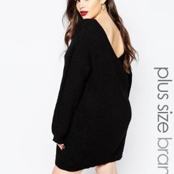 Boohoo | Boohoo Plus V Back Sweater Dress at ASOS