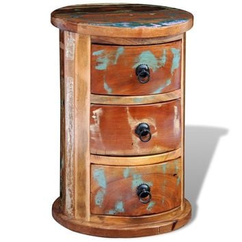 Unique Antique Reclaimed Solid Wood Round Cabinet