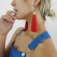 On The Fringe hoop tassel earrings - available in 5 different colors