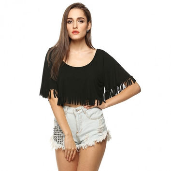 Stylish Ladies Casual Loose Fringe Cover Up Short Crop Top Blouse Plus Size