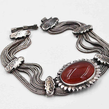 Vintage Sterling Silver Red Carnelian Bracelet, Multi Chain, Niello, Turkish, Middle Eastern, Slide Out Clasp, Breathtaking! #c413