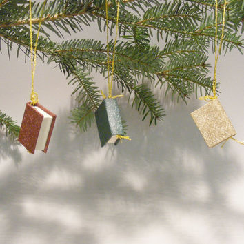 Sparkling Holiday - Christmas tree ornaments, Mini-books, Woven metal cover, Set of 9 pcs, plus Extra Gift bag included for free