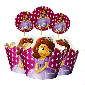 12pcs wrappers+12pcs toppers Cupcake pick Lovely Cartoon Sofia Princess Girl Kids Birthday Party wedding decoration Supplies