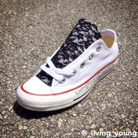 Black Floral Lace White Converse / Black Lace